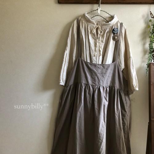 ●受注生産●グレーベージュ・ハーフリネンの大人サロペットスカート