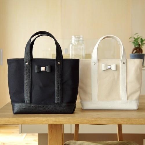 組み合わせ自由 倉敷帆布×イタリアンレザーのリボン付きトートバッグ ブラックベース
