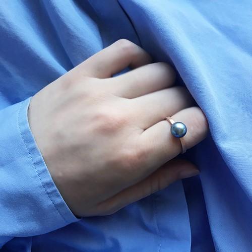 Akoya Cultured Pearl Ring -Blue-
