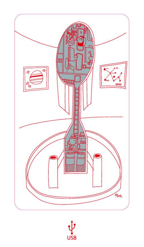 柳原良平 WLL Ryo.Works 宇宙へ行こう! Vol.2 スマホ用 USBモバイルバッテリー 4000mAh ホワイト #d