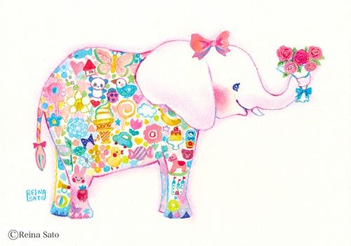 ゾウと花束〔ポストカード〕