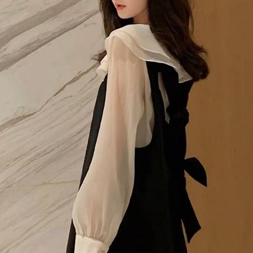 collar frill black dress