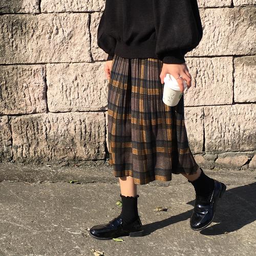 【送料無料】レトロチックでお洒落♡ プリーツスカート チェック柄 ミモレ丈 秋カラー