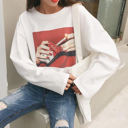 【トップス】プリント長袖ファッションTシャツ