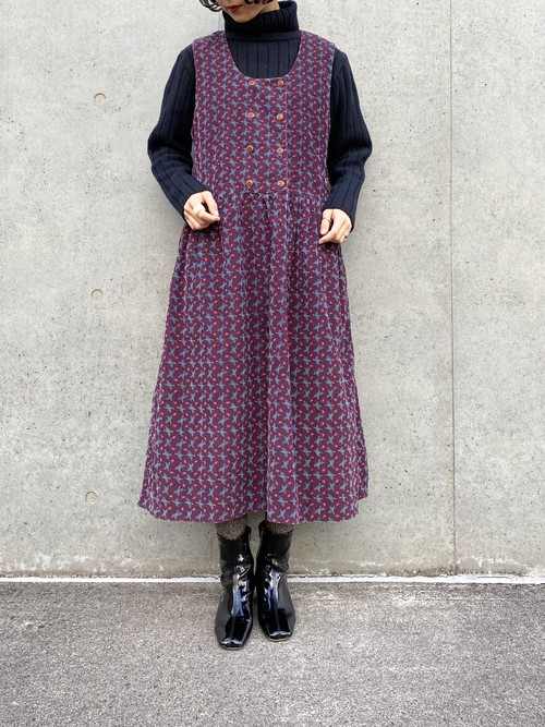 (TOYO) design corduroy n/s one-piece