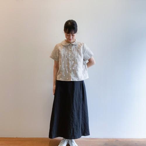 C-52703 Embroidery Linen Round collar Shirt