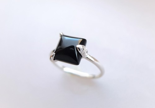 オニキス~square shape silver ring~