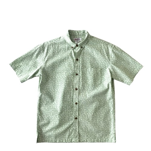 Mountain Men's ボタンダウンアロハシャツ / small green flower / size M