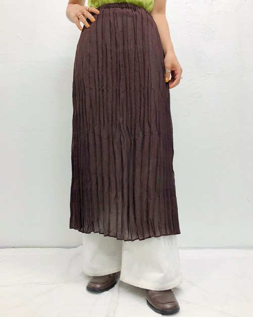 (PAL) see-through pleats flare skirt