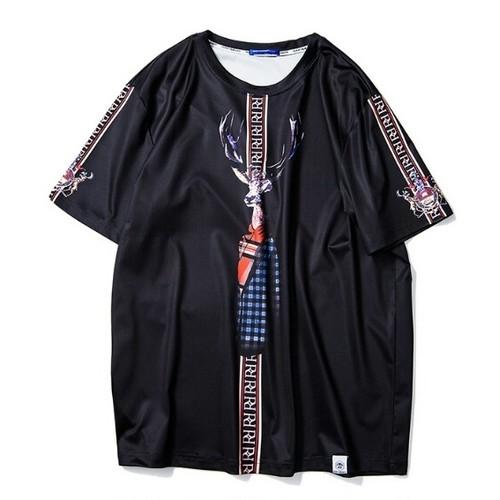 送料無料/メンズ/大きいサイズ/鹿風プリント/黒/半袖Tシャツ