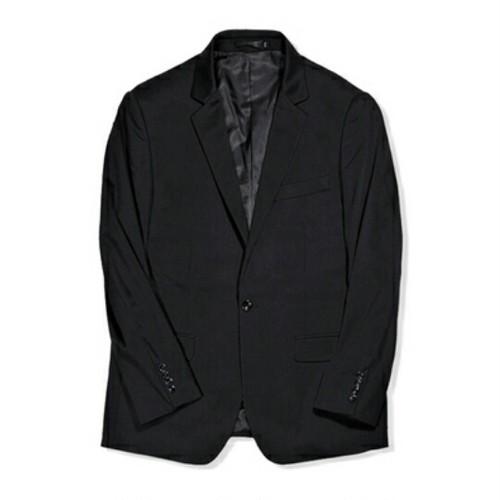 送料無料大きいサイズワンボタン黒ノッチドラペルテーラードジャケット