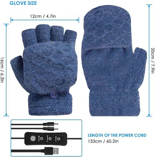 BOBISAMA ニット手袋 USB加熱 指切り手袋 2way ミトン USB手袋 カバー付き 防寒グローブ 3段階温度調節 洗える 秋冬用 暖かい ふわふわ スマホ対応 保温 防寒 作業 通勤 通学 男女兼用