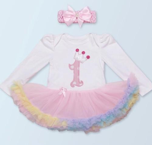 【送料無料/即納 】80-90㎝  ロンパース カラフル チュチュ スカート ドレス  ラスト1点