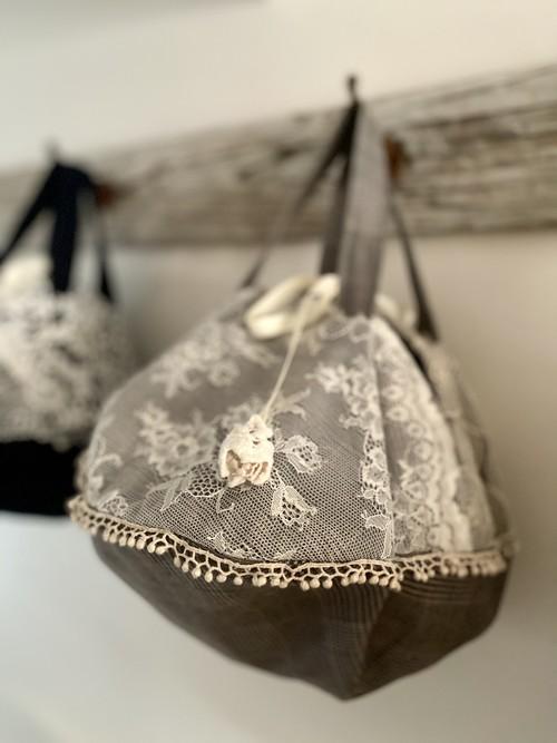 ヴィンテージレースとグレンチェックのバッグ_by  Mariko