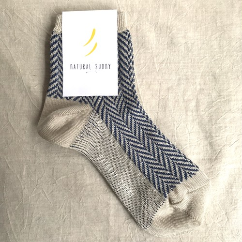 【NATURAL SUNNY】ギザコットン ヘリンボーンソックス ネイビー 靴下 日本製 【ナチュラルサニー】