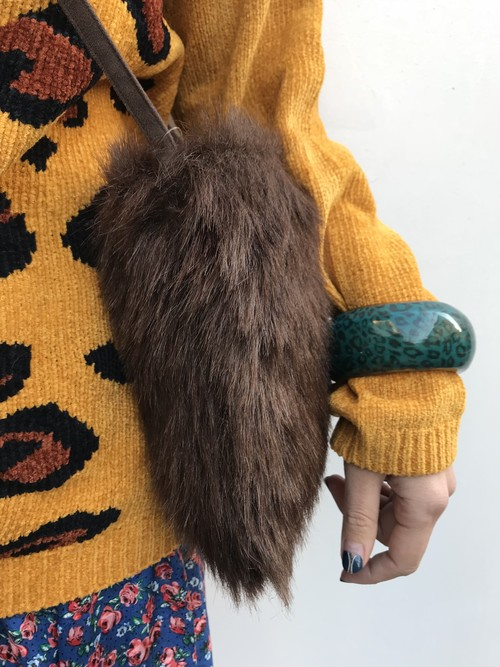 Vintage fake fur mini bag ( ヴィンテージ  焦げ茶 フェイクファー バッグ )