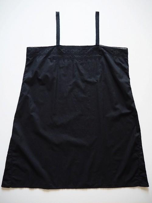 【フランス】 アンティークコットンカットワークワンピース [染物/墨黒色]