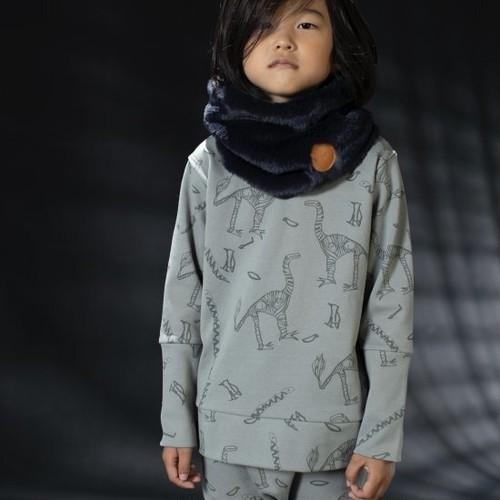 arkakama アルカカマ SPD L/S Sweatshirt(LOST) col:S.GREY×CHARCOAL size:XL(8-9Y)(130)