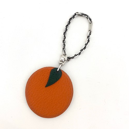 HERMES leather charm/key chain orange