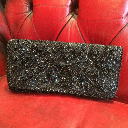 1950's BLACK SATIN BAG