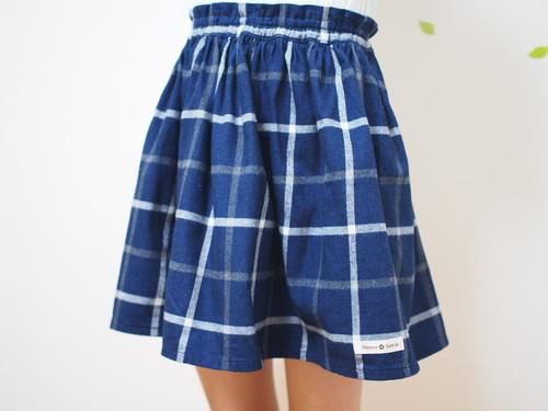 上品インディゴ染めのふんわりスカート(チェック・ネイビー)