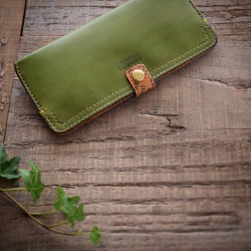 キャッシュレス時代の為のスリムな長財布【green】