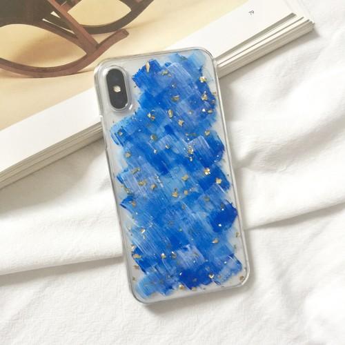 青ペイントと金箔をアレンジしたクリアiPhoneケースiPhoneXRiPhoneXsMax