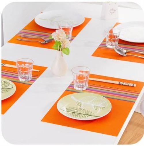 ヨーロッパ長方形のランチョンマット 防水テーブルマット オレンジ nfaz180