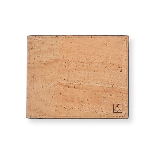 VEGAN MEN'S COIN WALLET  NATURAL / 二つ折り財布 ナチュラル&ブラック コルク製 小銭入れ付き