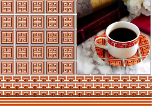 Greek Key New York Style Orange ポーセラーツ白磁用転写紙