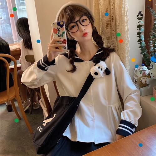 【トップス】日系学園風セーラーカラースウィート長袖シャツ