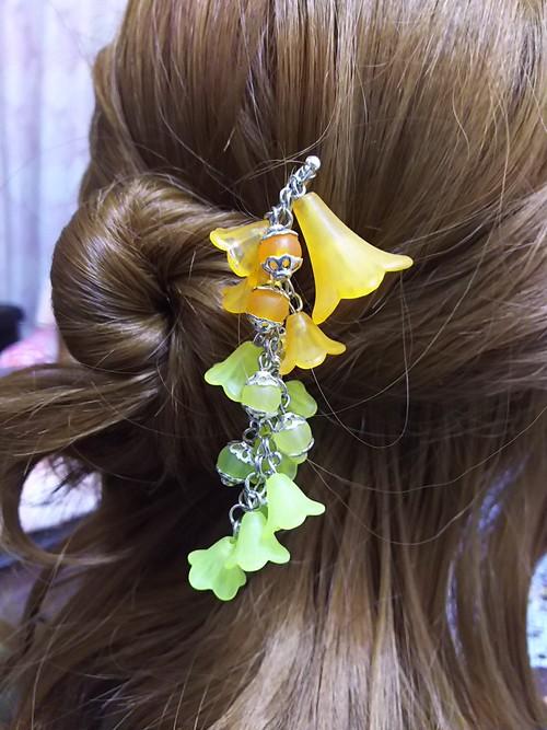 【在庫処分】枝垂れのかんざしオレンジ~黄緑【旧品】