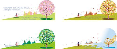 四季の丘と樹木_ai(ベクターデータ、Illustrator バージョン10で保存)