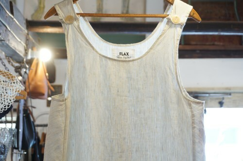 80's FLAX striped linen maxi sleeveless Dress