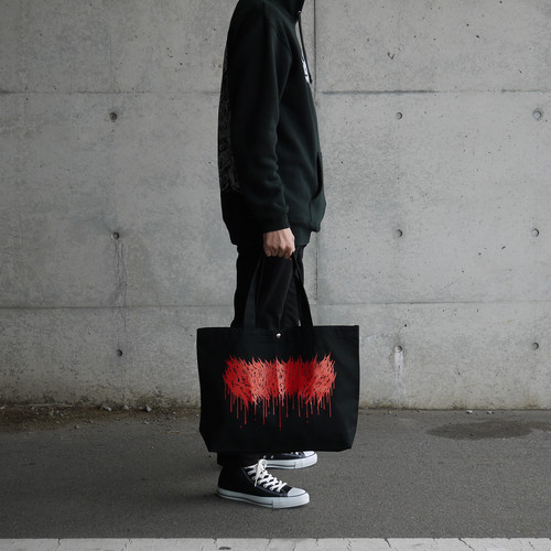 Dripping Logo Big Tote Bag Black × Red