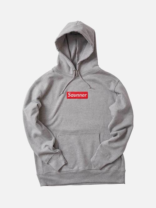 Saunner Box Logo Hooded Sweatshirt - Gray