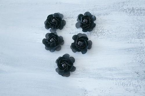 スパンコールフラワー ブラック(5個)