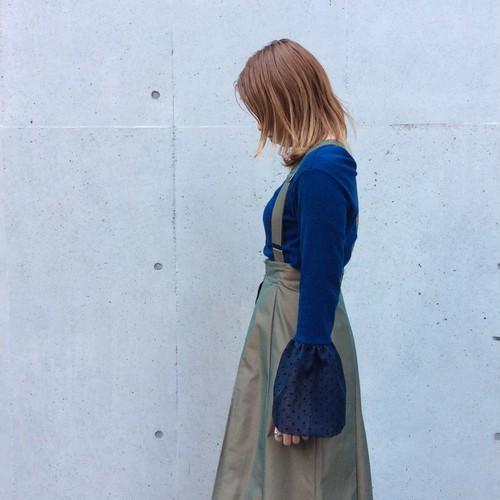 SHE GROW/袖ドットチュール切り替えカットソー