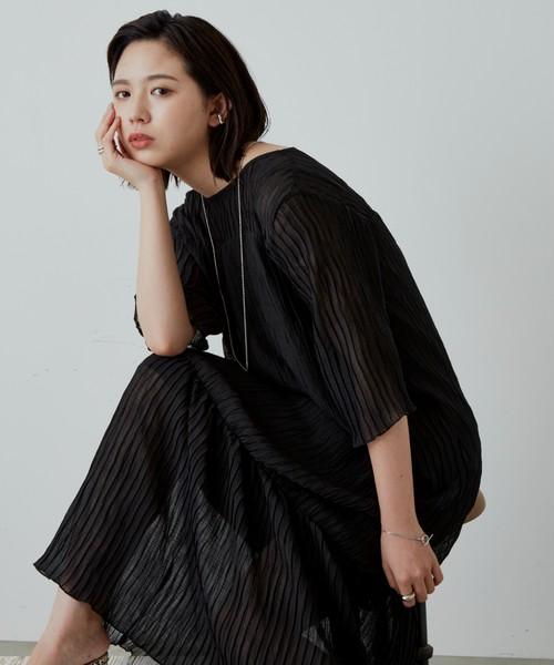 シフォン楊柳ロングワンピース/BLK
