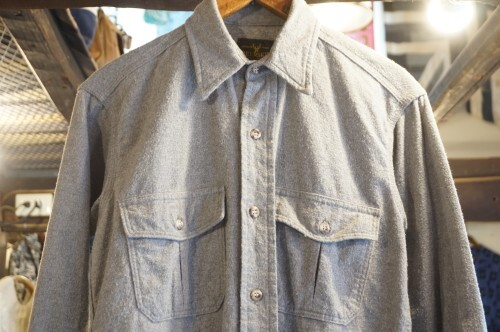 "70's DEERSKIN gray flannel Shirt ""Made in U.S.A."""