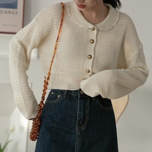 oval collar summer knit cardigan 2c's