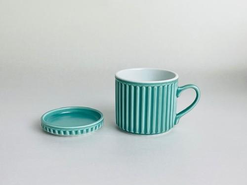 ギア マグカップ(小皿付)(ターコイズブルー)