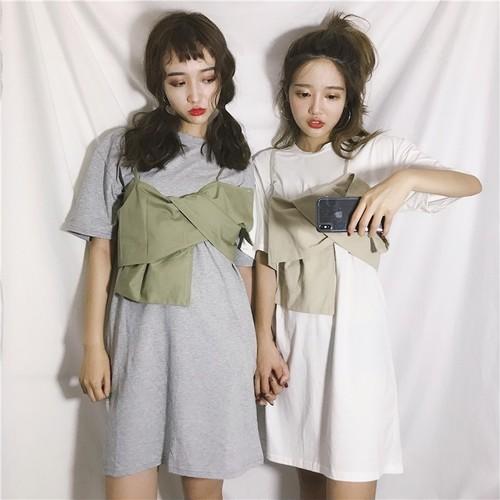 【セットアップ】韓国風春夏カジュアルラウンドネック無地半袖ロングTシャツ+不規則キャミソールセットアップ