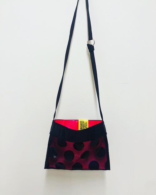 SALE★Mesh-dots Sacoche Black×Neon Pink(inside)