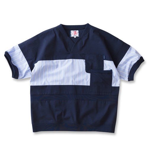 【SON OF THE CHEESE】cool max patch work TEE(NAVY)