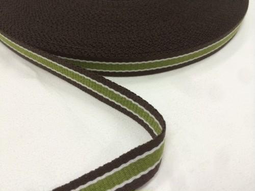 ポリエステルテープ 10㎜幅 0.7㎜厚 茶色xベージュx緑ライン 1m