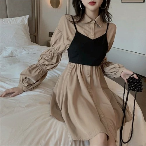 puff sleeve bustier dress 2color