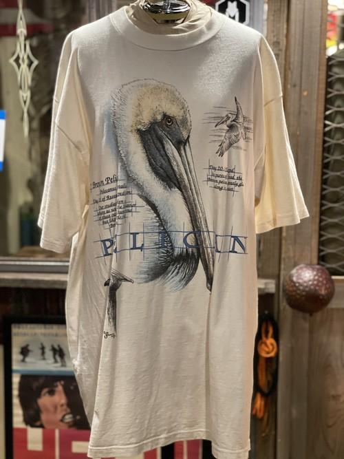 90s USA製 アメリカ ペリカン アニマル プリント 動物 tシャツ