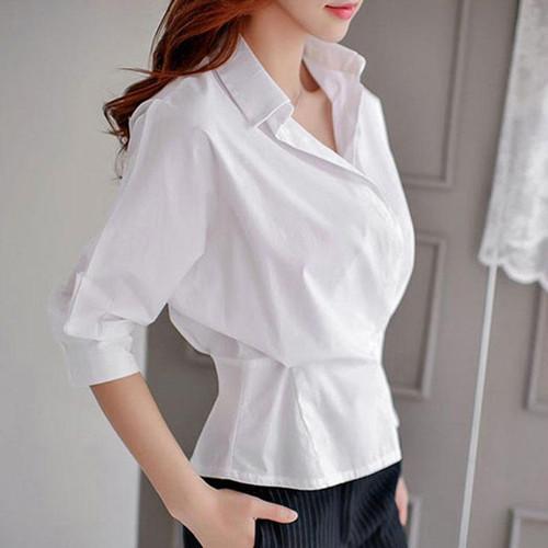 シャツ レディース ウエストスリム おしゃれ おでかけ ホワイト 白シャツ シンプル 大人 大人コーデ i1692