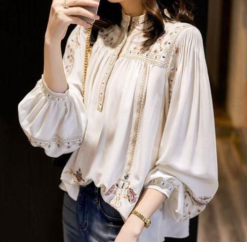 スタイリッシュ    新作      ゆったり     スタンドカラー   長袖    刺繍     シャツ・ブラウス・トップス